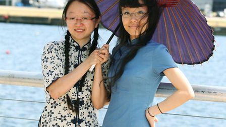 Xueting Ni (right) and her assistant at the London Hong Kong Dragon Boat Festival 2013