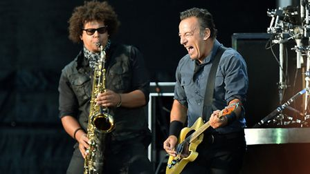 Bruce Springsteen & The E Street Band perform on stage at the Hard Rock Calling Festival at Queen El