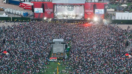 Aerial view from the Hard Rock Calling music festival at the Queen Elizabeth Olympic Park.