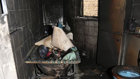 The bathroom was wrecked by the blaze