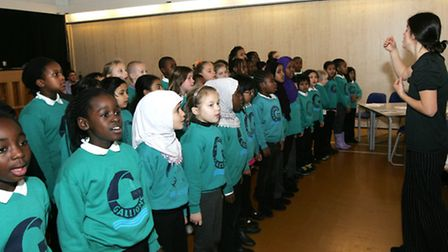Lunchtime Winter concert featuring the school's choir and the orchestra at Gallions Primary School