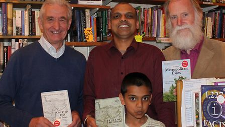 From left to right, Andrew Summers (author) Tan Dhillon (Village Book shop owner) John Debenham (aut