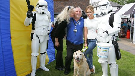 TOWIE stars Debbie Douglas and Lydia Bright at the show with Dave Kent and Star Wars storm troopers