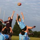 Georgina Cox (left) and Selina Duncan (right) in a line out. Romford Ravens celebrating a good ye