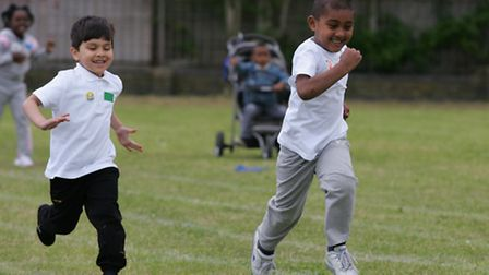 Hassin Azeem (left) and Deen Alam (right) racing in the Aldborough E-ACT Free School's first ever sp