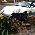 The car after hitting the wall Chadwell Heath Lane.