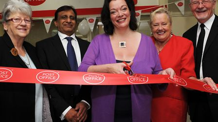 Plaistow Post Office opening. MP for West ham, Lyn Brown- with scissors
