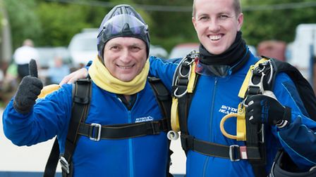 Lee Scott with Adam Hughes. The Ilford North MP did the tandem skydive in aid of Saint Francis Hospi