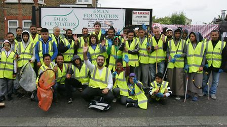 Volunteers from the Eman foundation set off to clean up the local area