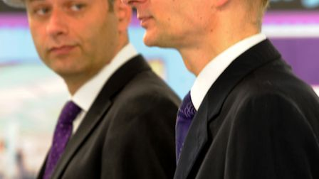 Lord Andrew Adonis visits School 21. Pictured left to right: head teacher Peter Hyman, Andrew Adonis