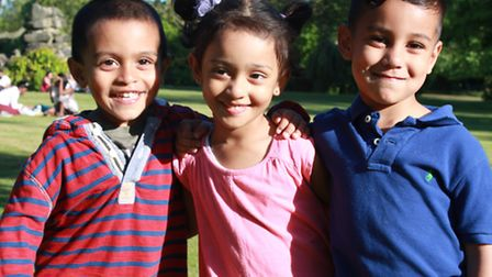 Three of the youngest children who will taking part in the charity event at Blenheim Palace on Sunda