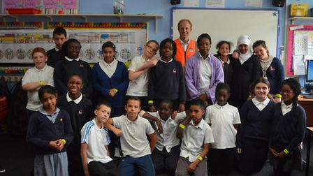 Crossrail's project manager for the Thames Tunnel Gus Scott visits pupils at Drew School