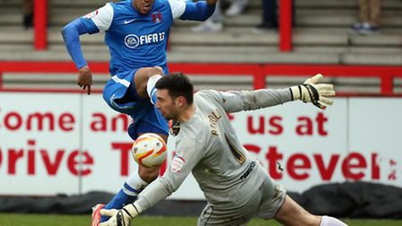 Shaun Batt seen here playing for Orient on loan last season against Stevenage, has signed a two-year