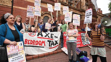 Protesters demonstrate outside Newham Town Hall, East Ham, to encourage Newham's councillors not to