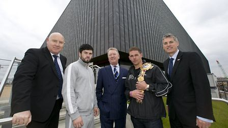 At the Copperbox announcement are, left to right, Phil Lane, head of sport at GLL, John Ryder, boxer