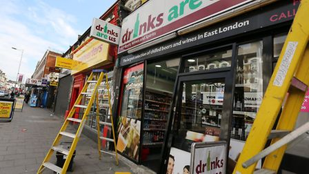 The shop front of an off licence in Cranbrook Road has been smashed down by a thief who was trying t