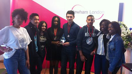 Royal Docks Community School students, including the winning team, at Newham Dockside for the Young