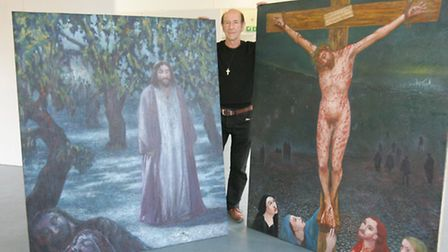 Terry Fyffe with some of his artwork