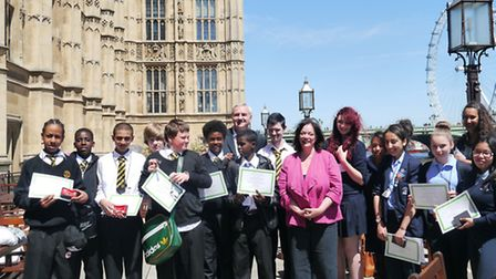Rokeby School and Sarah Bonnell School pupils with West Ham MP Lyn Brown at the House of Commons.