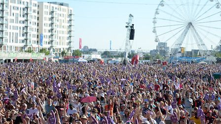 Crowds packed the Queen Elizabeth Olympic Park for the Go Local volunteering event. Picture: Andy Pa