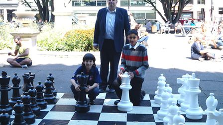 From left: Samir Samadov, 11; Cllr Frixos Tombolis and Devdoot Barman, 14