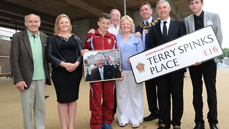 The mayor with Terry's friends and family in Terry Spinks Place