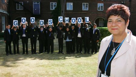 Headteacher Julia Deery with students from The Royal Liberty School.