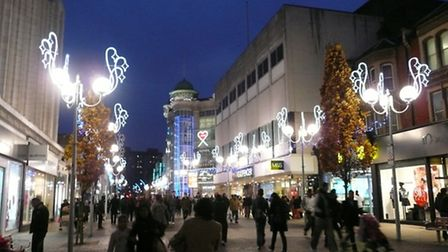 TheChristmas lights in Ilford High Road last year.
