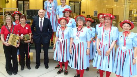 The Black Horse and Standard Women's Morris dancers with MP Iain Duncan Smith at the Houses of Parli