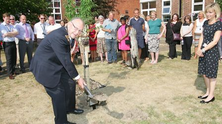 Mayor of Havering, Cllr Eric Munday plants a tree