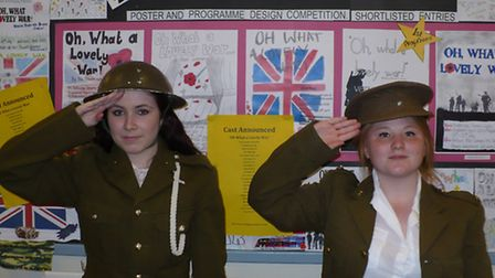 Chloe Roberts (left) and Georgia Carnaby appear in Oh What a Lovely War at the Redbridge Drama Centr