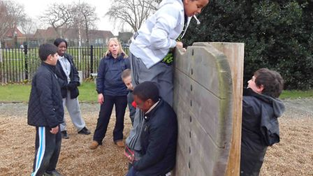 Rokeby School pupils tackle an obstacle course at Outdoors in the City.