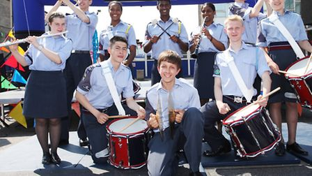 The East Ham 282 Squadron Royal Air Force Air Cadets play at the Summer fete in Little Ilford School