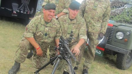Soldiers from G Company 7 RIFLES, Col Sgt Les Phillips, Col Sgt Tony Snow, Cpl Al Ceesay and Riflema