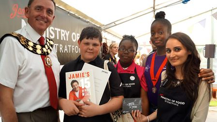 Mayor of Newham Sir Robin Wales with winners Tommy Ling and Ashantay Miller with Young Mayor Rebekah