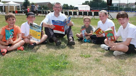 Cllr Andrew Curtin with children from Newtons Primary School.