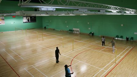 Inside the badminton arena at Redbridge Sports and Leisure