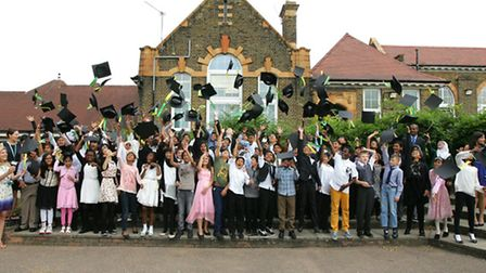Graduation ceremony for Year 6 run by pupils at Highlands Primary School.