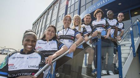 Some of the London City Airport staff who will be taking part in the bike ride to Amsterdam to raise