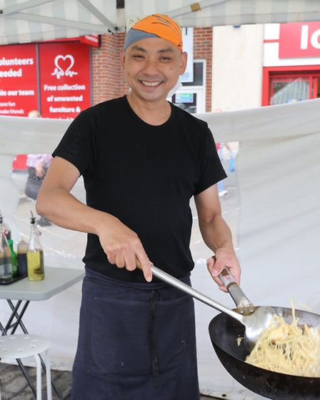 New food stores at Romford market Pictures by Ellie Hoskins Chinese stall owner Nyi Nyi Aung