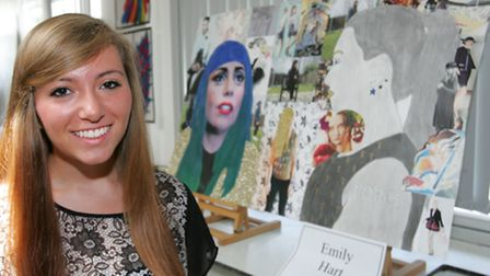 Emily Hart with her art work