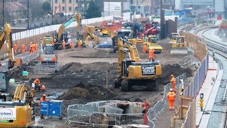 Works started on Crossrail's Victoria Dock tunnel portal at Custom House in February