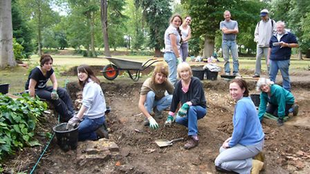 Members of the West Essex Archaeological Group at a previous excavation uncovering the circular bric