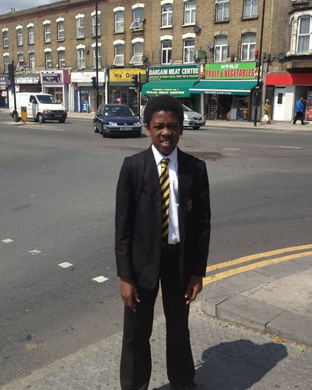 Kwei Abloso, a Year Seven student at Rokeby School, on the Barking Road junction.