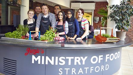 The Miinistry of Food Stratford at their training kitchen in East Ham with celebrity chef Jamie Oliv