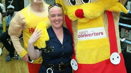 Amanda Stuart, who works at Cash Converters, shaved off her hair to raise money for charity Dreams C