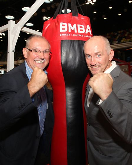 London Legacy Corpoation Chief Executive Dennis Hone,left, and Barry McGuigan at the launch of the B