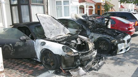 Fire damaged cars in Fairfield road