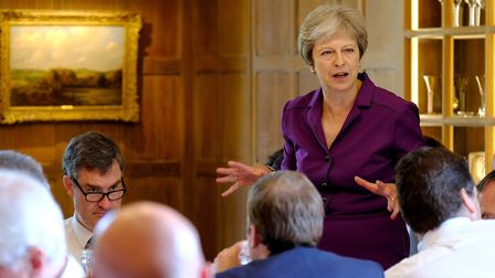 Theresa May speaks during a cabinet meeting at Chequers where she presented her controversial Brexit