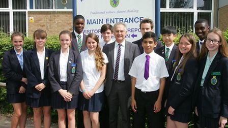 Hall Mead School deputy headteacher James Brooks with some of the students